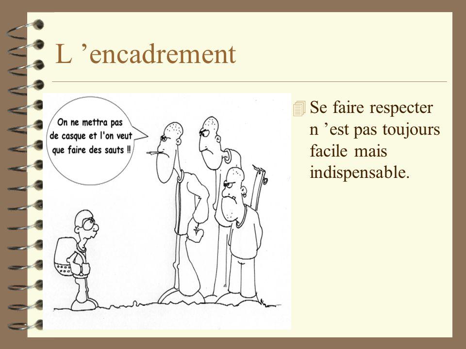 L encadrement 4 Se faire respecter n est pas toujours facile mais indispensable.