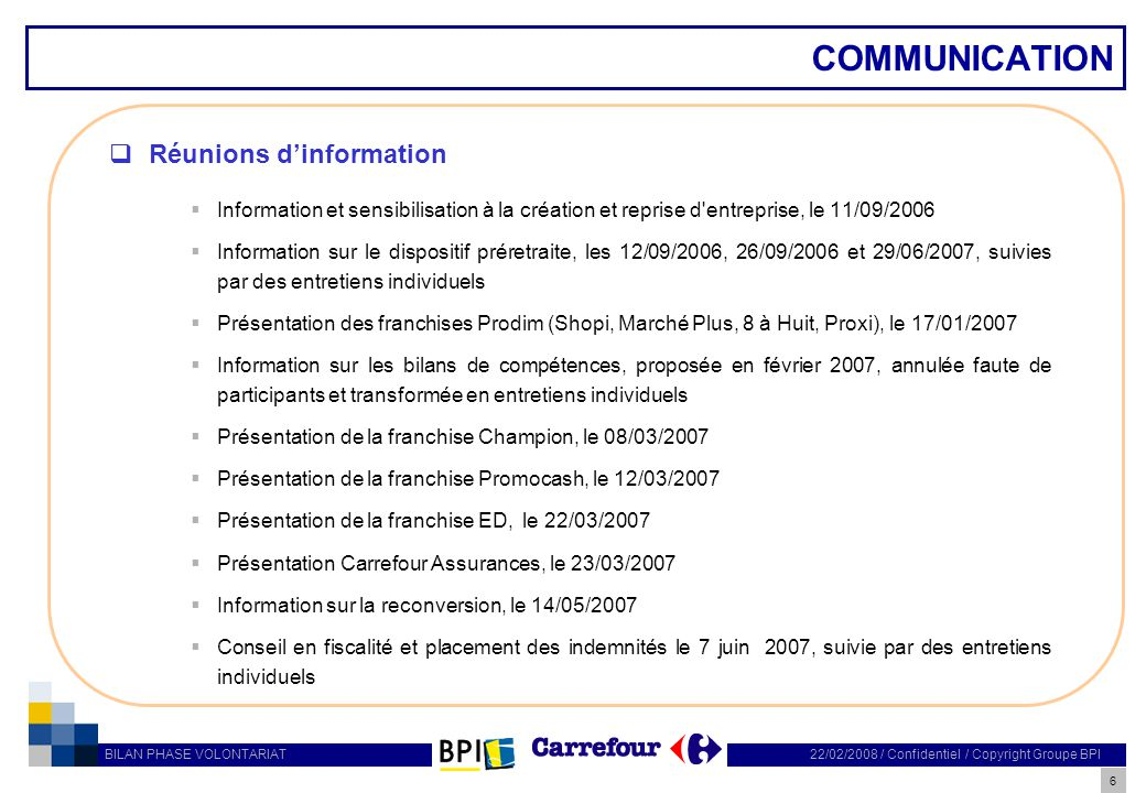 6 22/02/2008 / Confidentiel / Copyright Groupe BPI BILAN PHASE VOLONTARIAT COMMUNICATION Réunions dinformation Information et sensibilisation à la cré