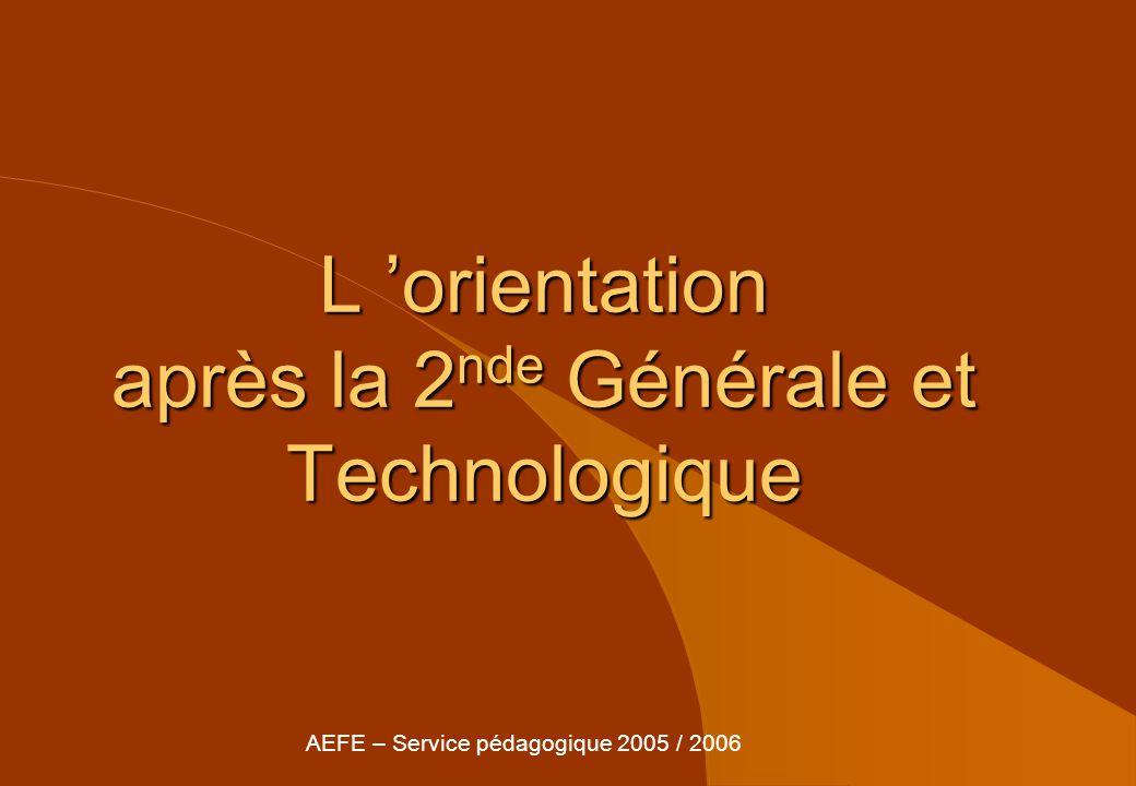 L orientation après la 2 nde Générale et Technologique AEFE – Service pédagogique 2005 / 2006