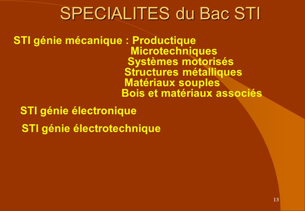 13 SPECIALITES du Bac STI STI génie mécanique : Productique Microtechniques Systèmes motorisés Structures métalliques Matériaux souples Bois et matériaux associés STI génie électronique STI génie électrotechnique