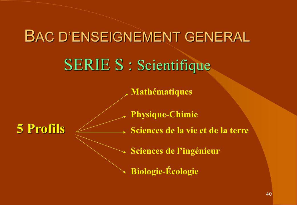 40 B AC DENSEIGNEMENT GENERAL SERIE S : Scientifique 5 Profils Mathématiques Physique-Chimie Sciences de la vie et de la terre Sciences de lingénieur Biologie-Écologie