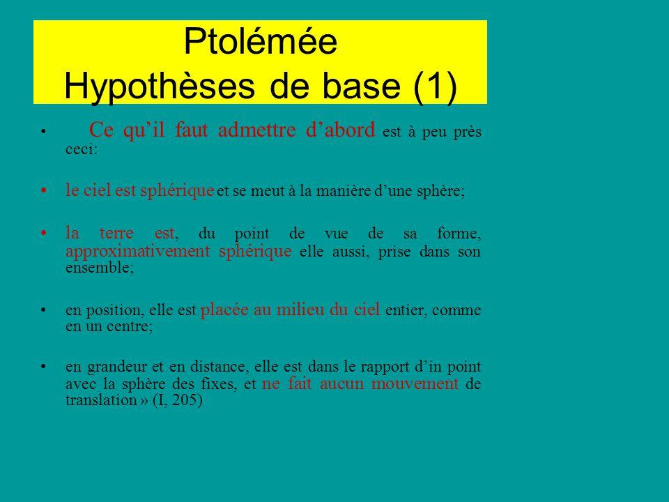 Ptolémée Hypothèses de base (1) Ce quil faut admettre dabord est à peu près ceci: le ciel est sphérique et se meut à la manière dune sphère; la terre