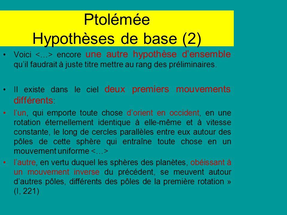 Ptolémée Hypothèses de base (2) Voici encore une autre hypothèse densemble quil faudrait à juste titre mettre au rang des préliminaires. Il existe dan