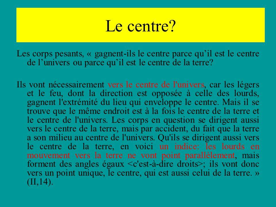 Le centre? Les corps pesants, « gagnent-ils le centre parce quil est le centre de lunivers ou parce quil est le centre de la terre? Ils vont nécessair