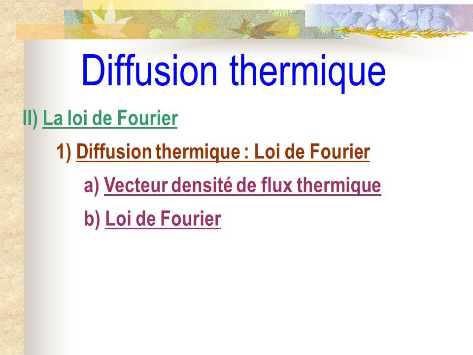 Diffusion thermique II) La loi de Fourier 1) Diffusion thermique : Loi de Fourier a) Vecteur densité de flux thermique b) Loi de Fourier