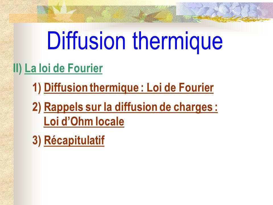 Diffusion thermique II) La loi de Fourier 1) Diffusion thermique : Loi de Fourier 2) Rappels sur la diffusion de charges : Loi dOhm locale 3) Récapitu