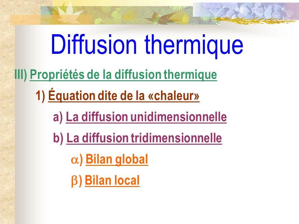 Diffusion thermique III) Propriétés de la diffusion thermique 1) Équation dite de la «chaleur» a) La diffusion unidimensionnelle b) La diffusion tridi