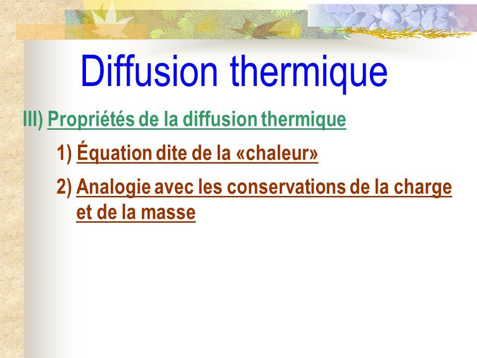 Diffusion thermique III) Propriétés de la diffusion thermique 1) Équation dite de la «chaleur» 2) Analogie avec les conservations de la charge et de l