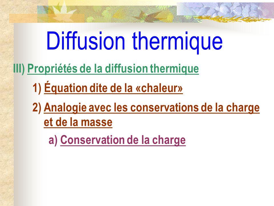 Diffusion thermique a) Conservation de la charge III) Propriétés de la diffusion thermique 1) Équation dite de la «chaleur» 2) Analogie avec les conse