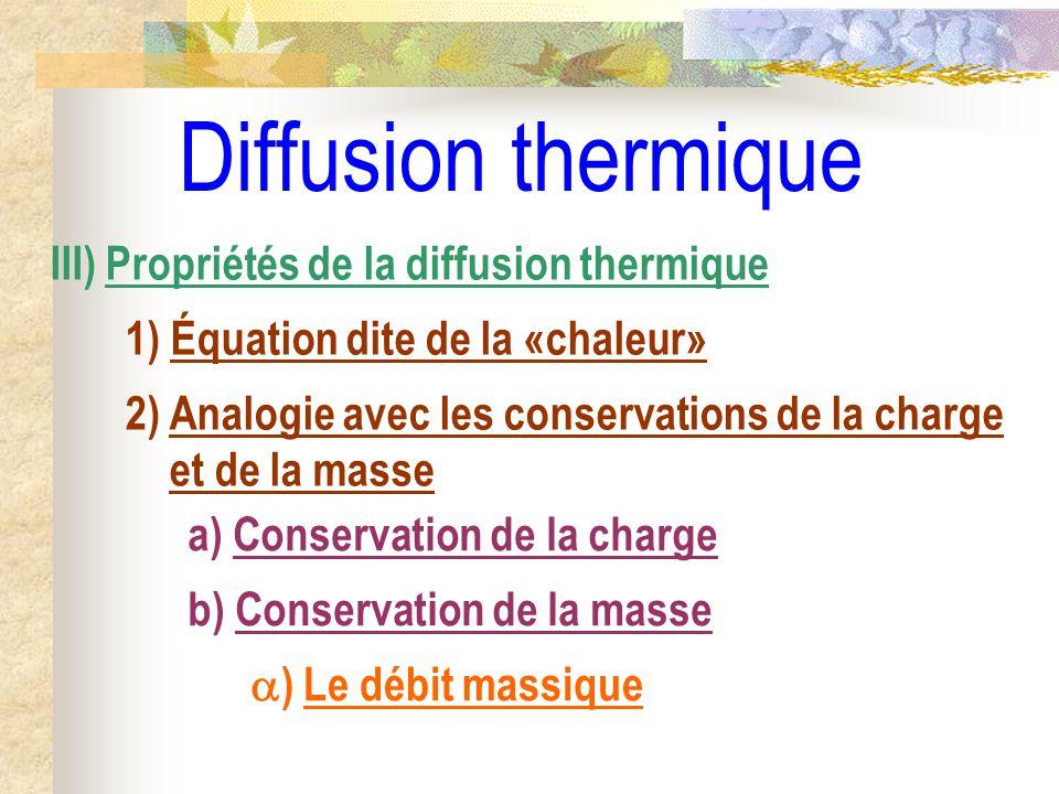 Diffusion thermique b) Conservation de la masse III) Propriétés de la diffusion thermique 1) Équation dite de la «chaleur» a) Conservation de la charg