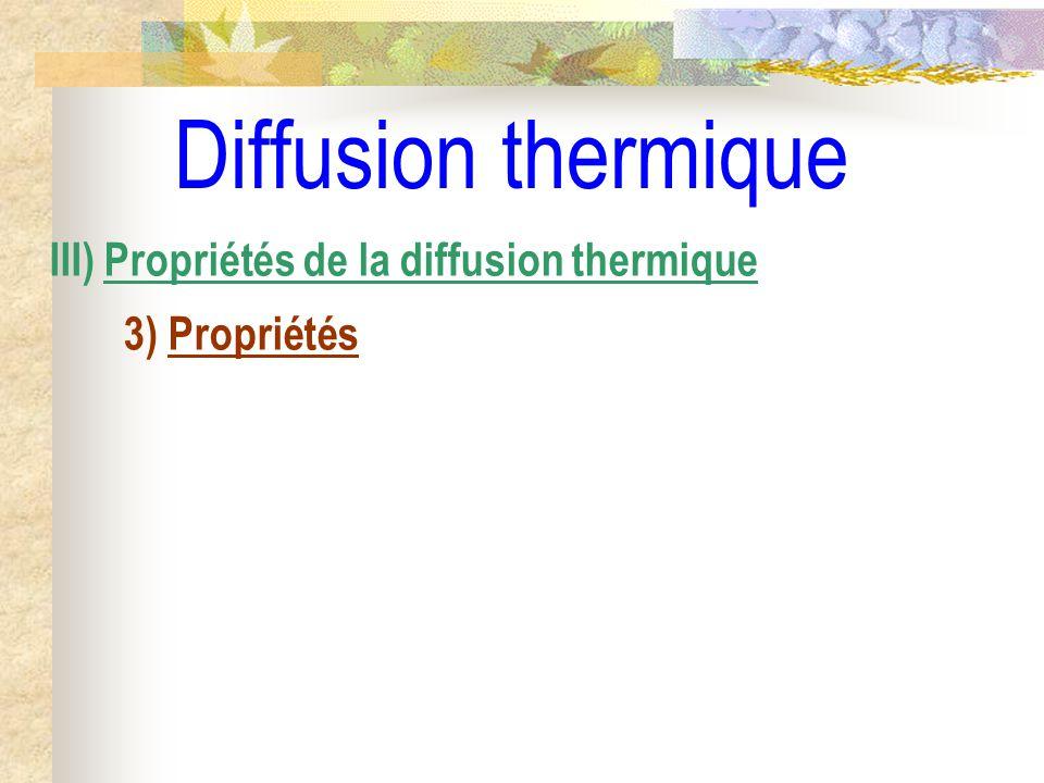 Diffusion thermique III) Propriétés de la diffusion thermique 3) Propriétés