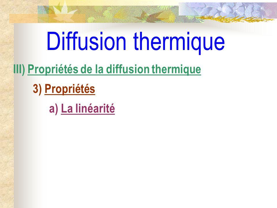 Diffusion thermique III) Propriétés de la diffusion thermique 3) Propriétés a) La linéarité