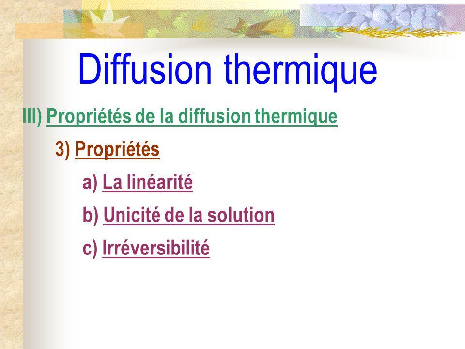 Diffusion thermique c) Irréversibilité III) Propriétés de la diffusion thermique 3) Propriétés b) Unicité de la solution a) La linéarité