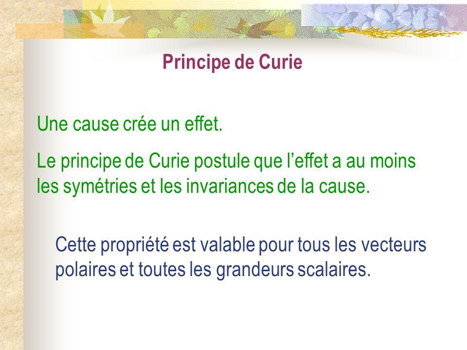 Principe de Curie Une cause crée un effet. Le principe de Curie postule que leffet a au moins les symétries et les invariances de la cause. Cette prop