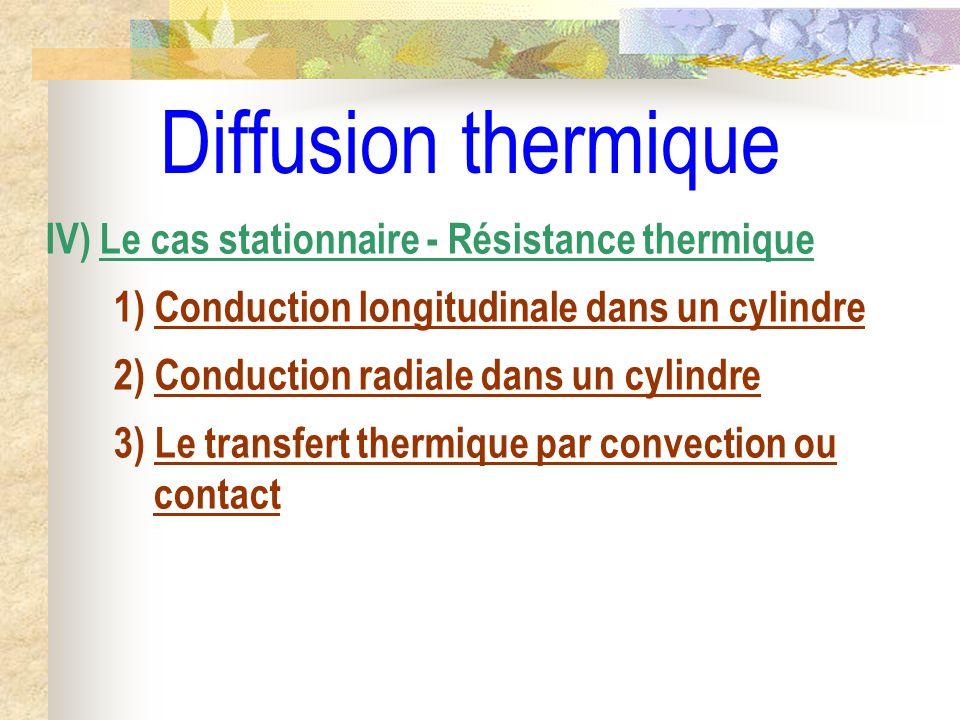 Diffusion thermique IV) Le cas stationnaire - Résistance thermique 1) Conduction longitudinale dans un cylindre 2) Conduction radiale dans un cylindre