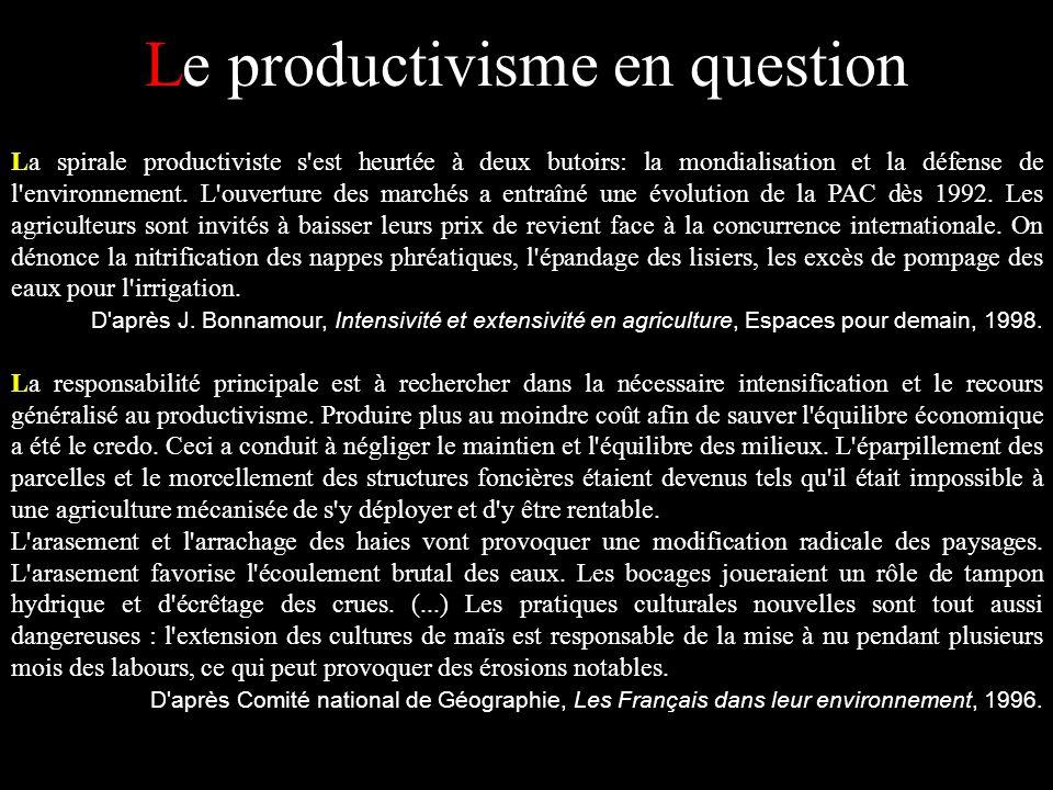 Le productivisme en question La spirale productiviste s'est heurtée à deux butoirs: la mondialisation et la défense de l'environnement. L'ouverture de