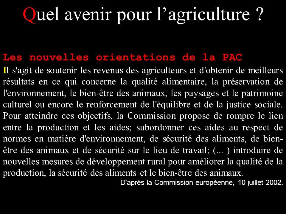 Quel avenir pour lagriculture ? Les nouvelles orientations de la PAC Il s'agit de soutenir les revenus des agriculteurs et d'obtenir de meilleurs résu