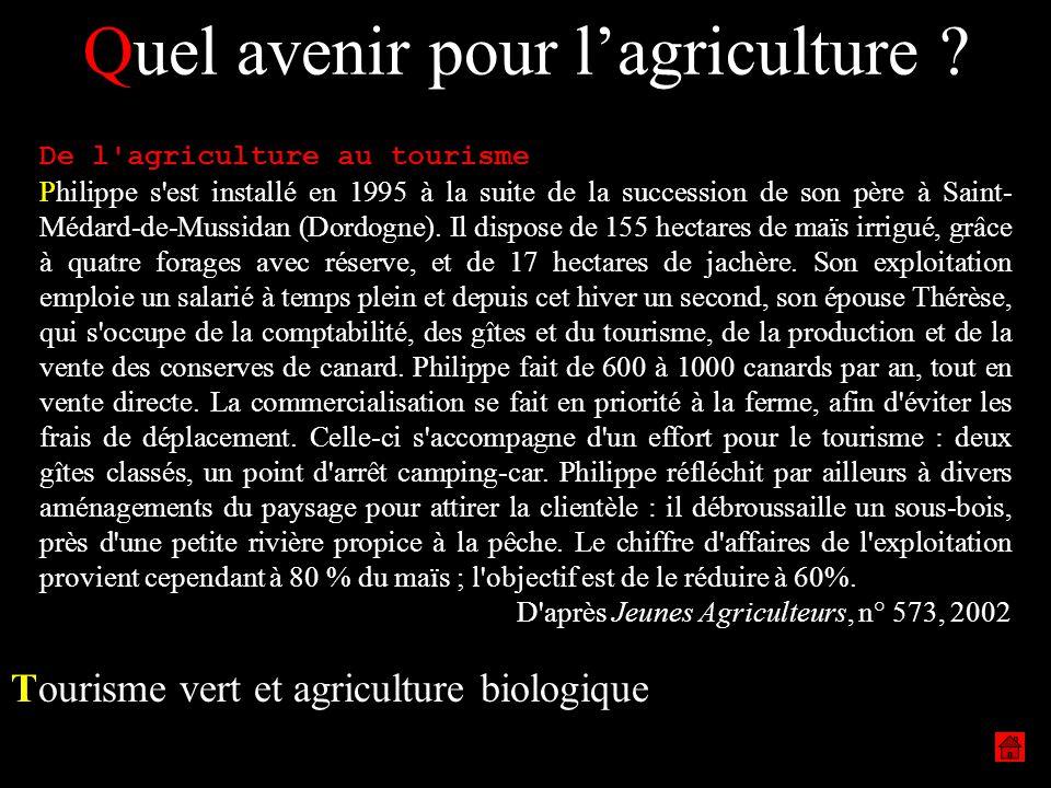 Quel avenir pour lagriculture ? Tourisme vert et agriculture biologique De l'agriculture au tourisme Philippe s'est installé en 1995 à la suite de la