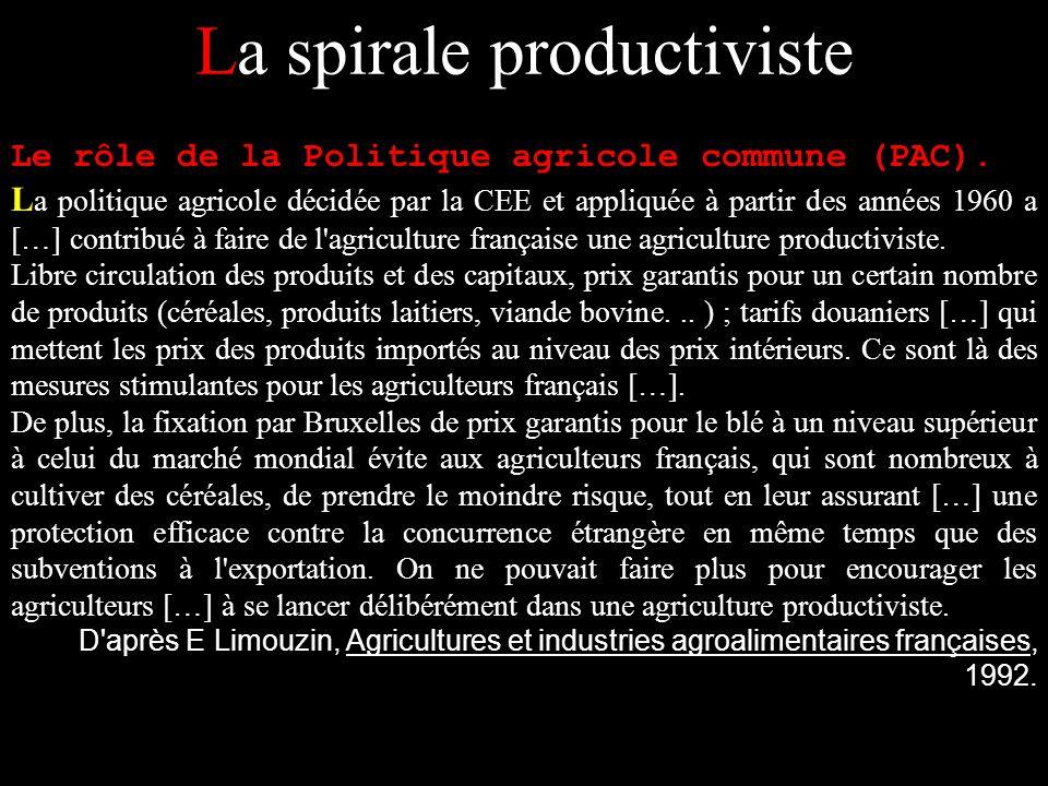 La spirale productiviste Le rôle de la Politique agricole commune (PAC). L a politique agricole décidée par la CEE et appliquée à partir des années 19