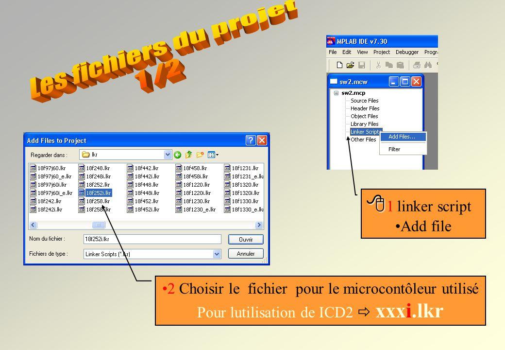 Clic droit sur le type de fichier à ajouter Le projet est maintenant créé… On peut ajouter ou enlever des fichiers : Source files *.c *.asm fichiers C