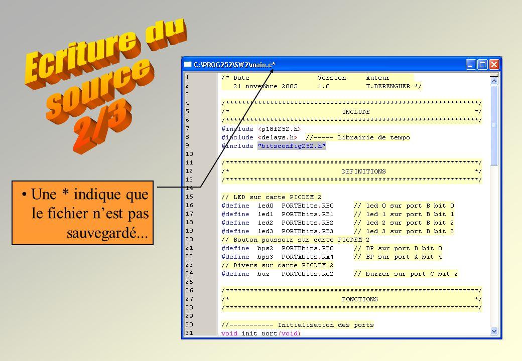 1 File… New ou Clic icone Un fichier source a une syntaxe très précise. Un fichier source en C doit être très lisible. Il doit être commenté et expliq