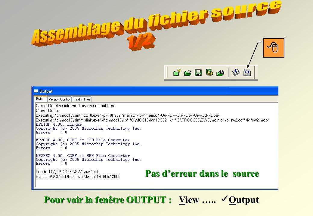 Nom du projet Fichiers source *.c Fichiers den-tête *.h Le projet est créé… Le source est écrit. Ne pas oublier de sauvegarder !!! Fichiers linkage *.