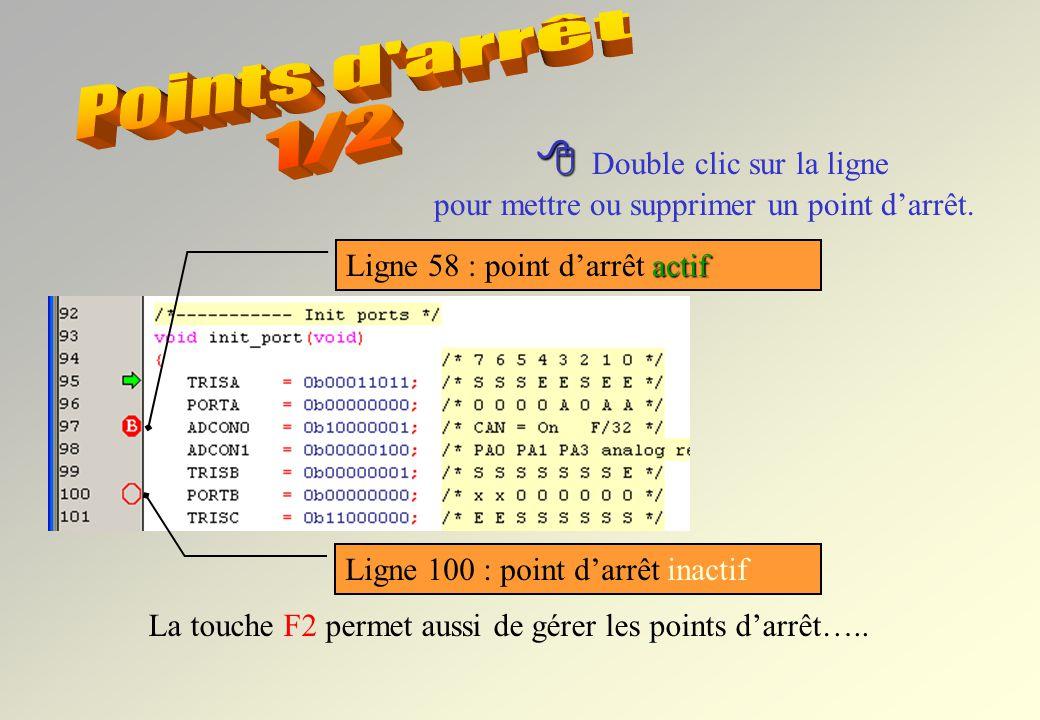 Commandes du debugger Raz Arrêt Mise en service Mode animation Pas à pas RAZ le PC est en début du programme