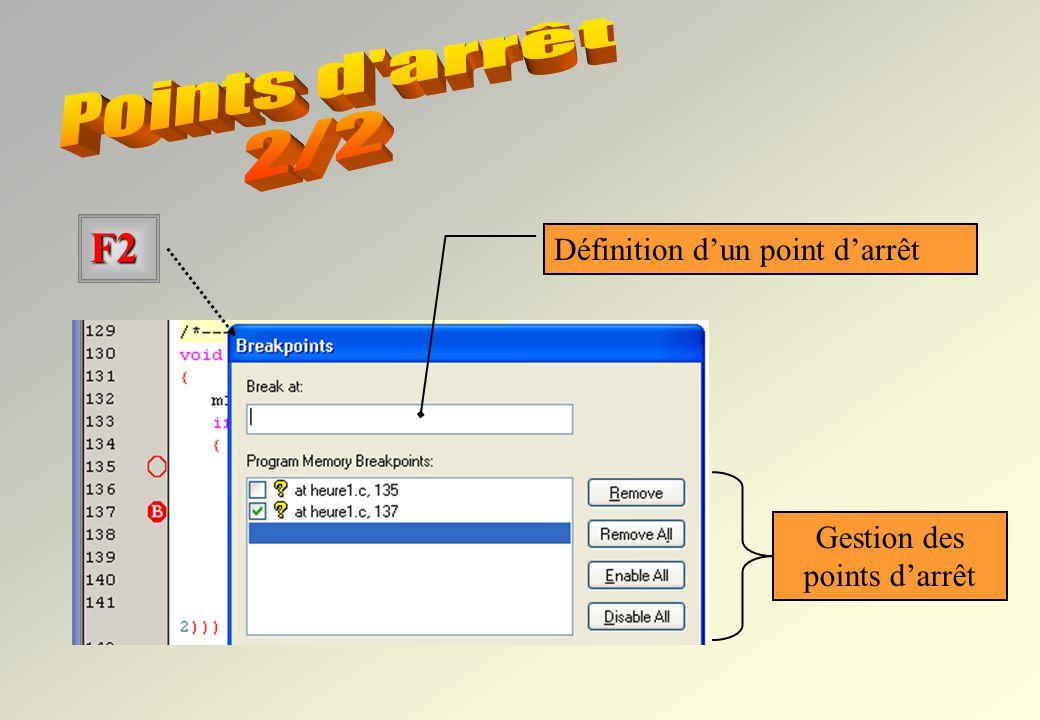 actif Ligne 58 : point darrêt actif Ligne 100 : point darrêt inactif La touche F2 permet aussi de gérer les points darrêt….. Double clic sur la ligne