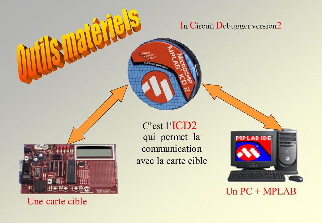 Un PC + MPLAB Une carte cible In In C ircuit D ebugger version 2 qui permet la communication avec la carte cible Cest l ICD2