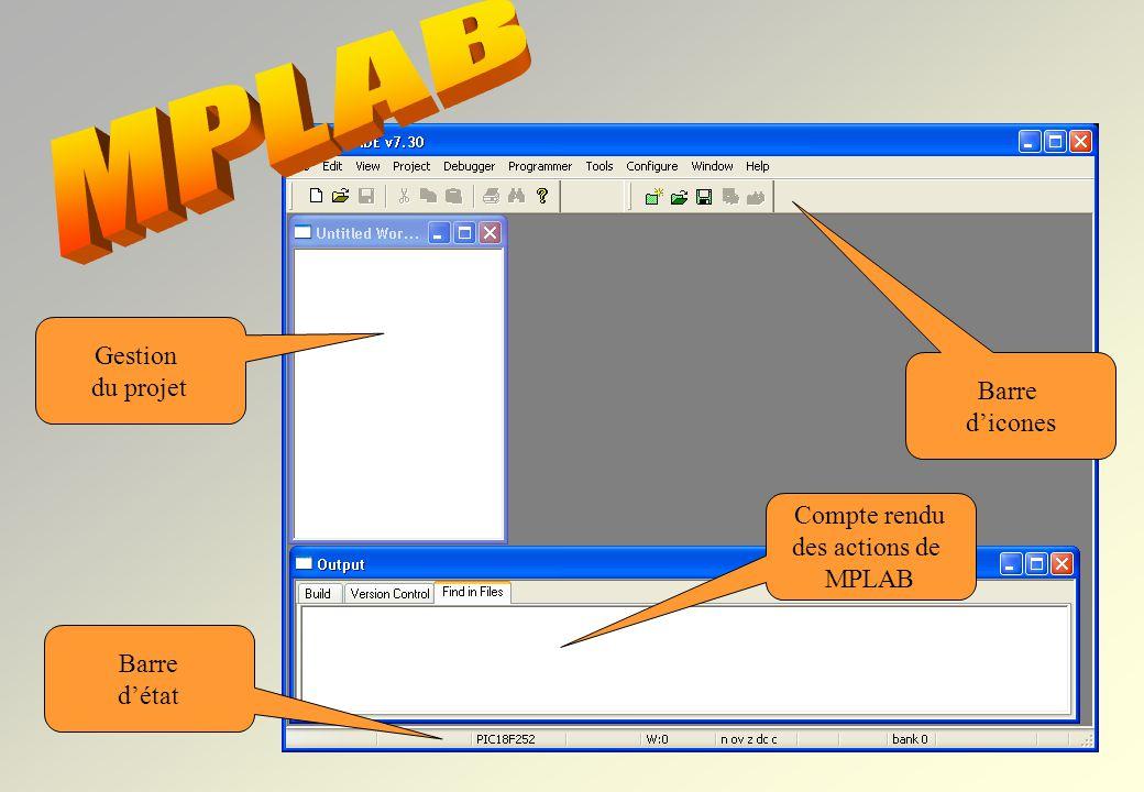 MPLAB permet de visualiser de nombreuses informations : le code machine la RAM, les registres du µC, lEEPROM, etc….