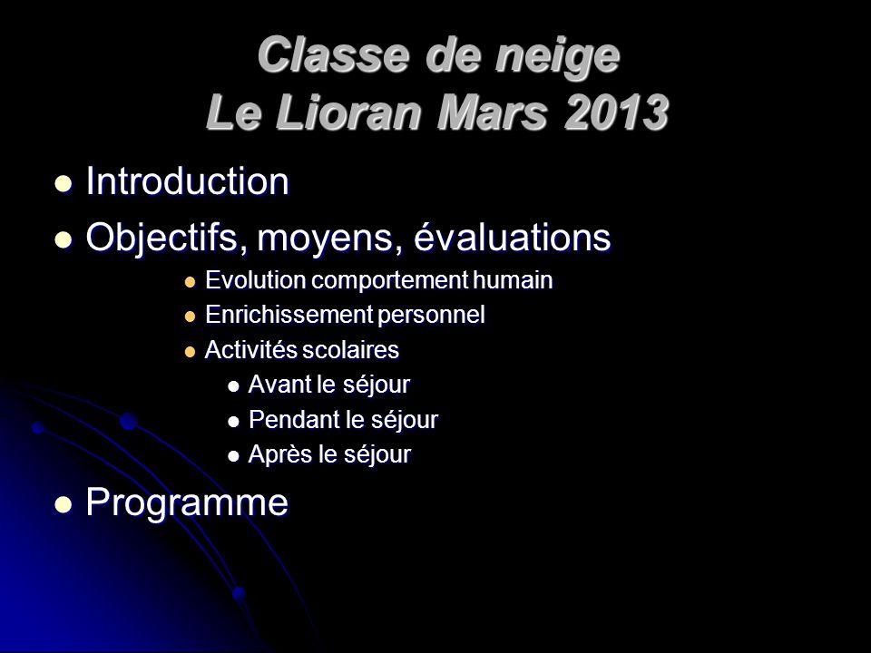 Classe de neige Le Lioran Mars 2013 Introduction Introduction Objectifs, moyens, évaluations Objectifs, moyens, évaluations Evolution comportement hum