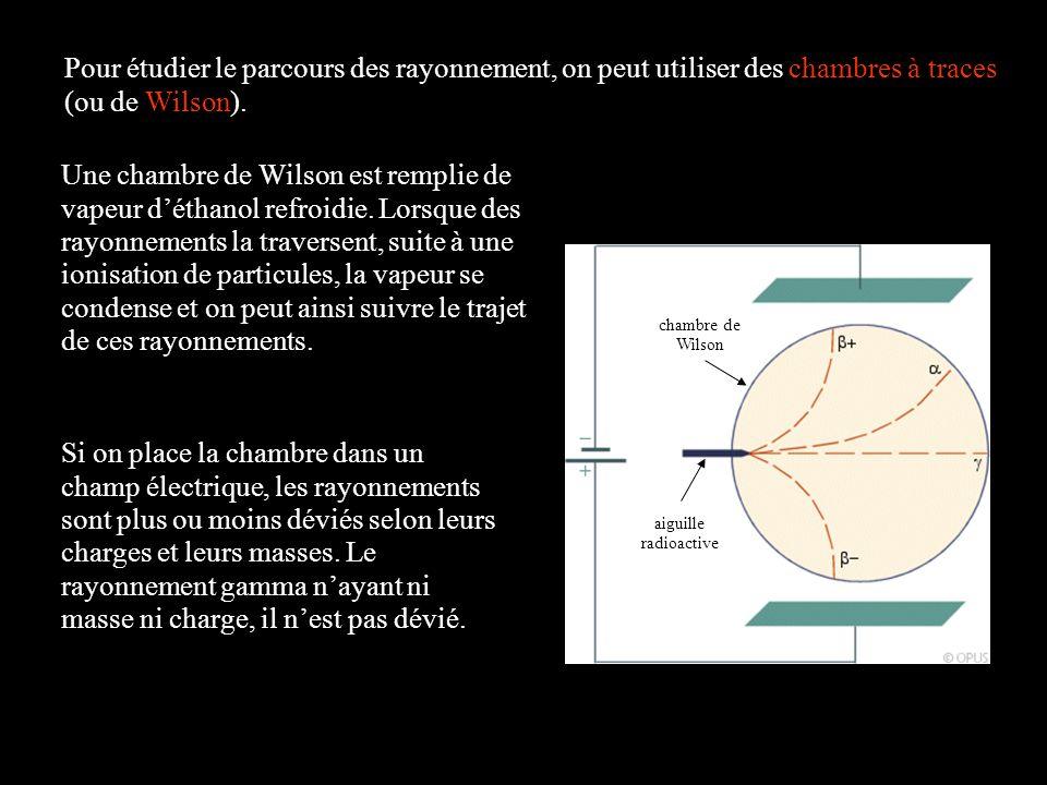 Pour étudier le parcours des rayonnement, on peut utiliser des chambres à traces (ou de Wilson). chambre de Wilson aiguille radioactive Une chambre de