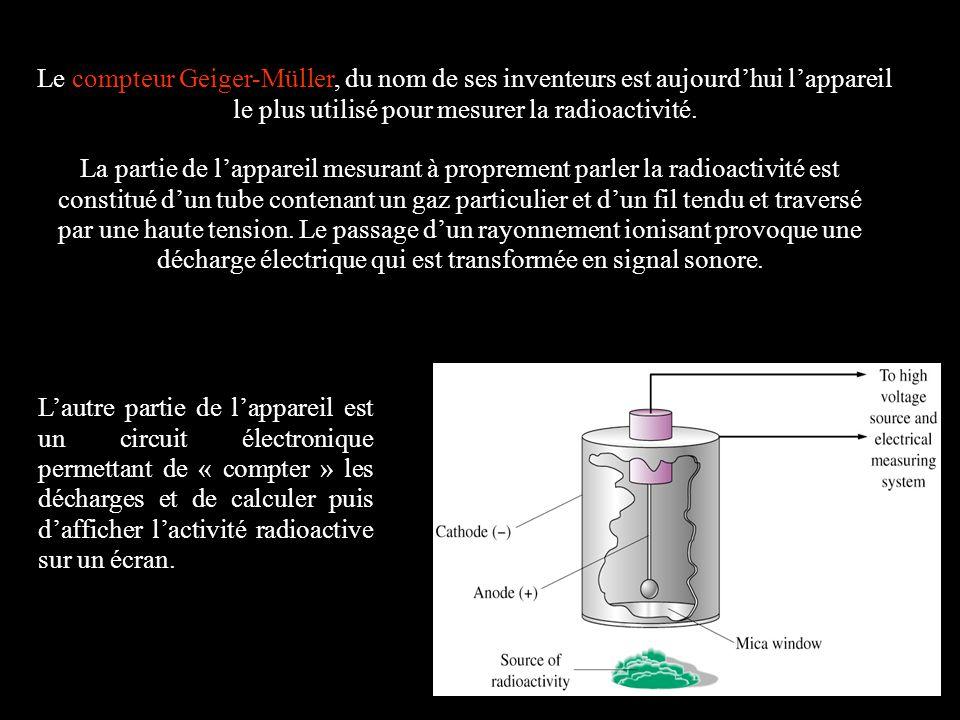 Le compteur Geiger-Müller, du nom de ses inventeurs est aujourdhui lappareil le plus utilisé pour mesurer la radioactivité. La partie de lappareil mes