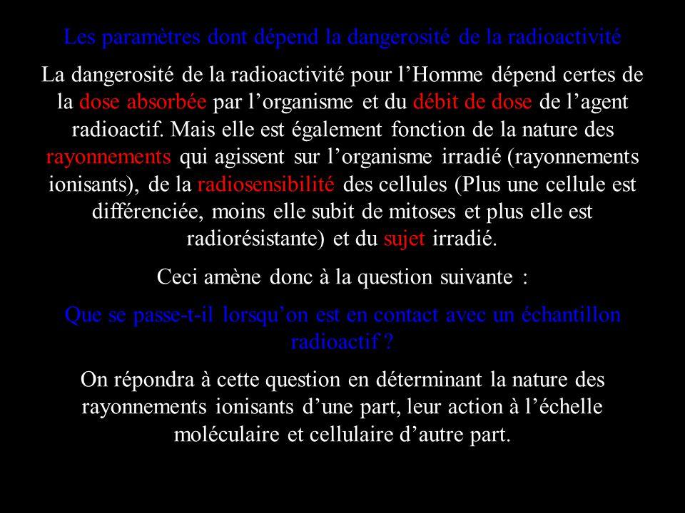 Les paramètres dont dépend la dangerosité de la radioactivité La dangerosité de la radioactivité pour lHomme dépend certes de la dose absorbée par lor