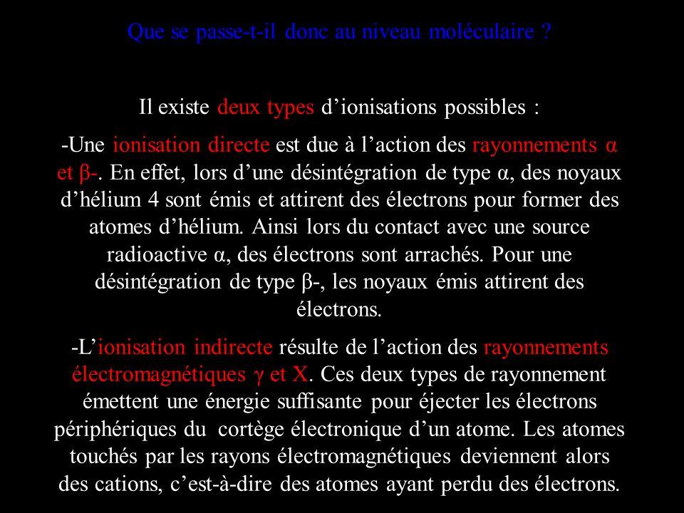Que se passe-t-il donc au niveau moléculaire ? Il existe deux types dionisations possibles : -Une ionisation directe est due à laction des rayonnement