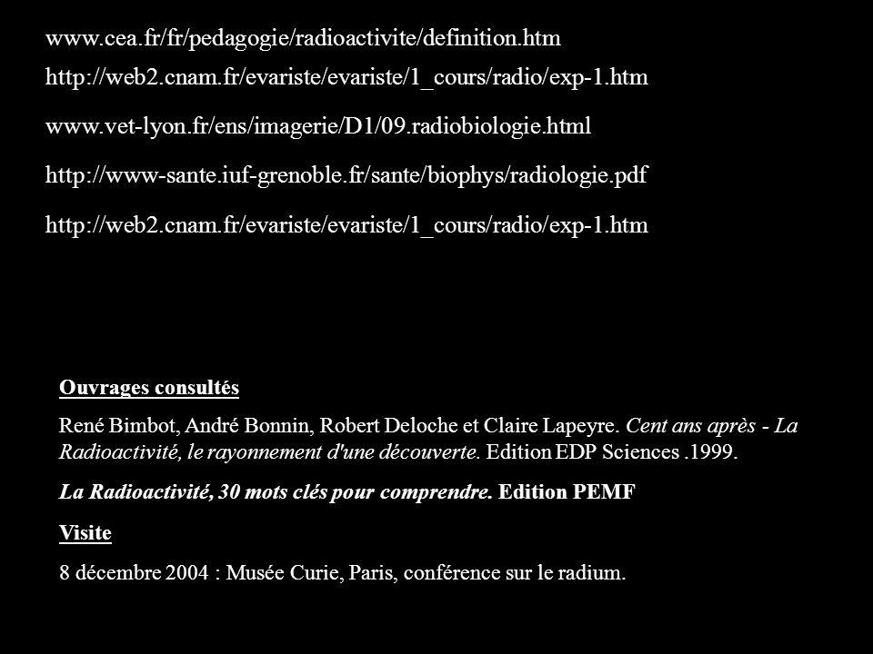 Ouvrages consultés René Bimbot, André Bonnin, Robert Deloche et Claire Lapeyre. Cent ans après - La Radioactivité, le rayonnement d'une découverte. Ed