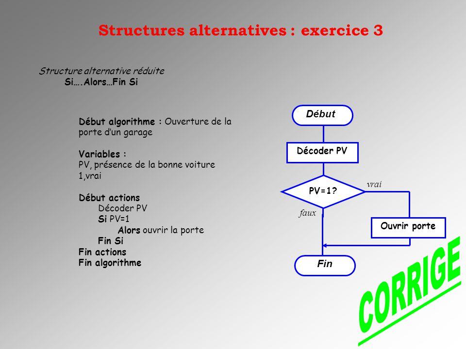 Structure alternative réduite Si….Alors…Fin Si Début algorithme : Ouverture de la porte dun garage Variables : PV, présence de la bonne voiture 1,vrai