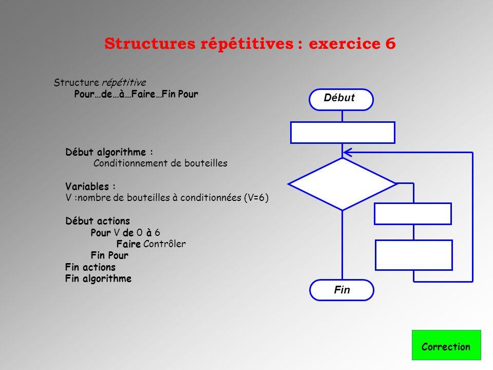 Structures répétitives : exercice 6 Début Fin Structure répétitive Pour…de…à…Faire…Fin Pour Début algorithme : Conditionnement de bouteilles Variables