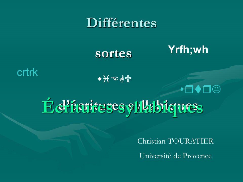 Différentes sortes décritures syllabiques wiEGU Yrfh;wh crtrk srtrK Écritures syllabiques Christian TOURATIER Université de Provence