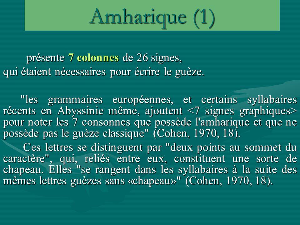Amharique (1) présente 7 colonnes de 26 signes, présente 7 colonnes de 26 signes, qui étaient nécessaires pour écrire le guèze.