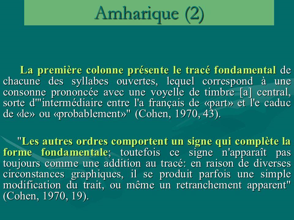 Amharique (2) La première colonne présente le tracé fondamental de chacune des syllabes ouvertes, lequel correspond à une consonne prononcée avec une voyelle de timbre [a] central, sorte d intermédiaire entre l a français de «part» et l e caduc de «le» ou «probablement» (Cohen, 1970, 43).