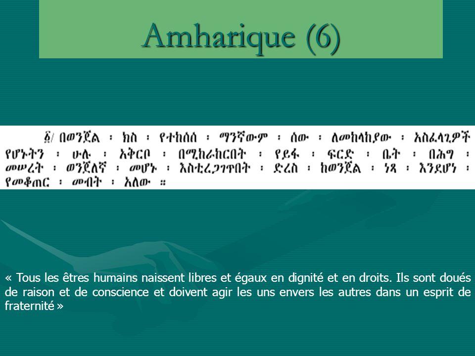 Amharique (6) « Tous les êtres humains naissent libres et égaux en dignité et en droits.
