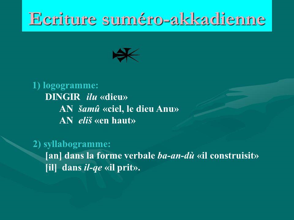 Ecriture suméro-akkadienne 1) logogramme: DINGIR ilu «dieu» AN šamû «ciel, le dieu Anu» AN eliš «en haut» 2) syllabogramme: [an] dans la forme verbale ba-an-dù «il construisit» [il] dans il-qe «il prit».