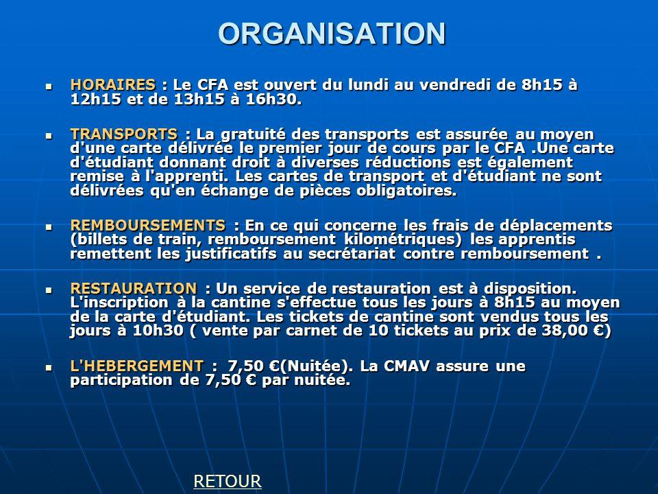 ORGANISATION HORAIRES : Le CFA est ouvert du lundi au vendredi de 8h15 à 12h15 et de 13h15 à 16h30. HORAIRES : Le CFA est ouvert du lundi au vendredi