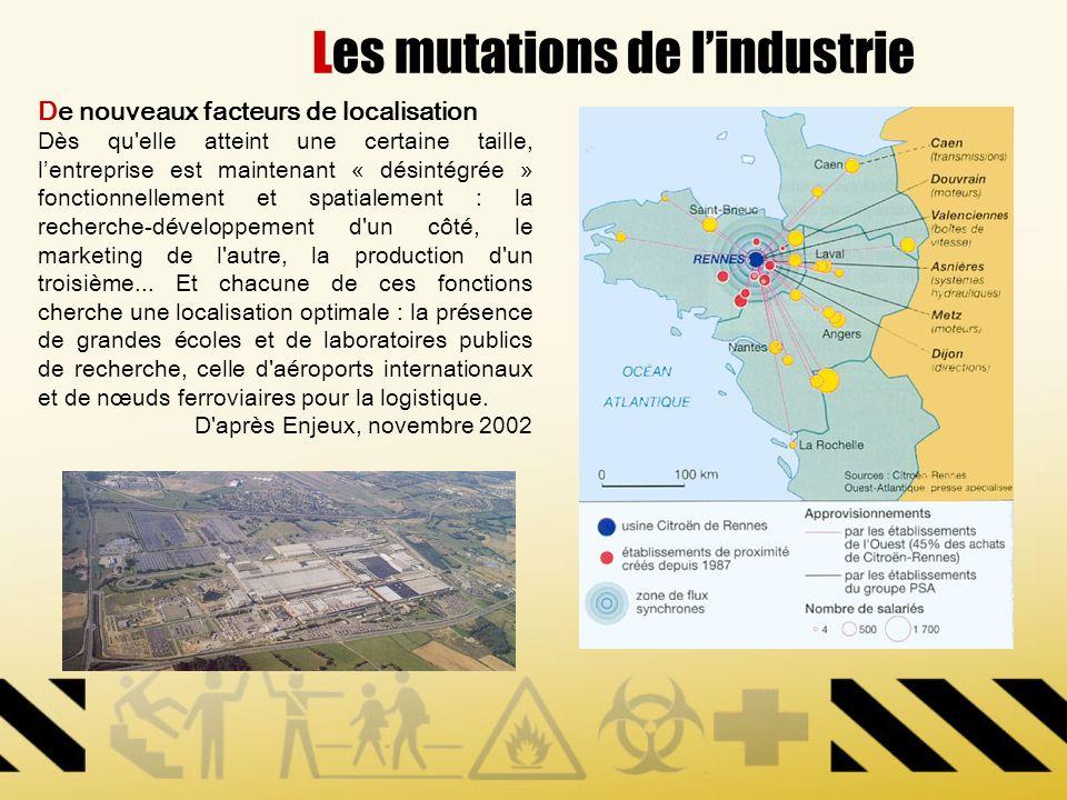 Les mutations de lindustrie De nouveaux facteurs de localisation Dès qu'elle atteint une certaine taille, lentreprise est maintenant « désintégrée » f