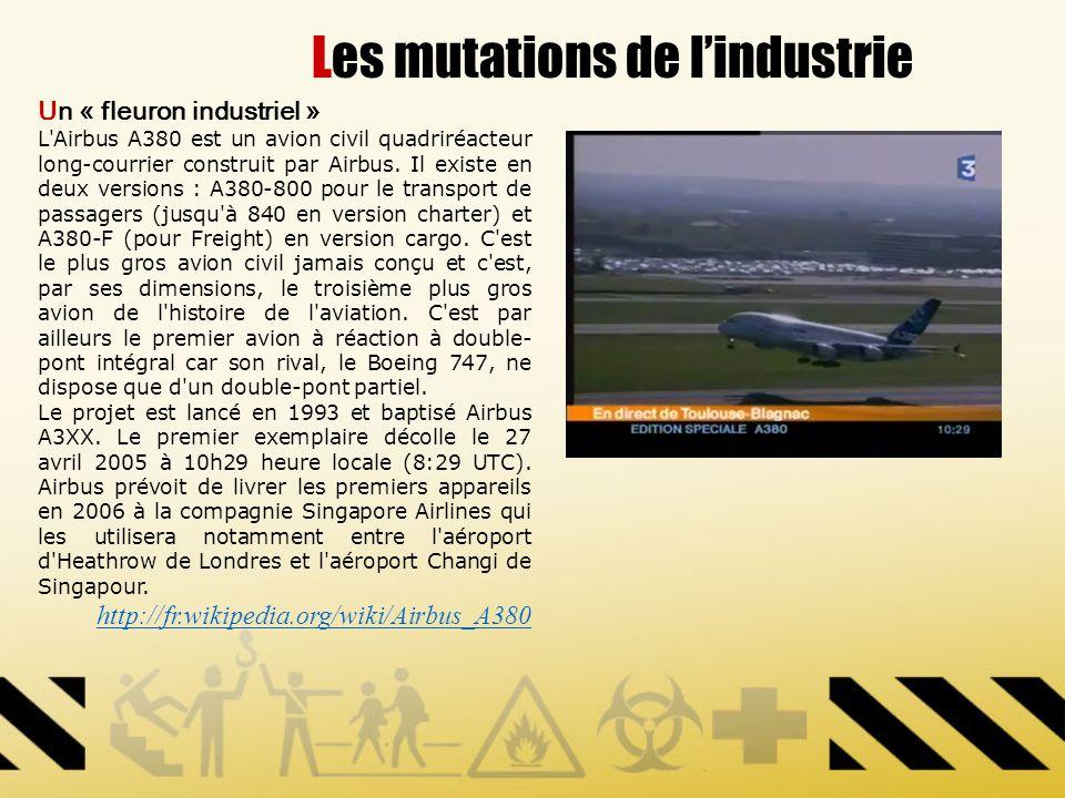 Les mutations de lindustrie Un « fleuron industriel » L'Airbus A380 est un avion civil quadriréacteur long-courrier construit par Airbus. Il existe en