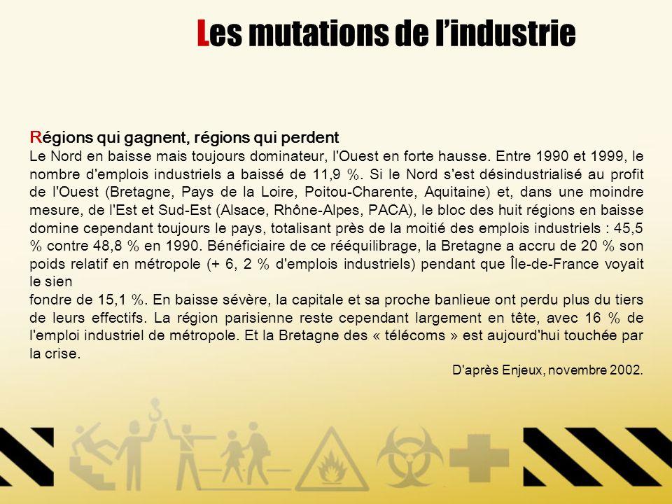Les mutations de lindustrie Régions qui gagnent, régions qui perdent Le Nord en baisse mais toujours dominateur, l'Ouest en forte hausse. Entre 1990 e