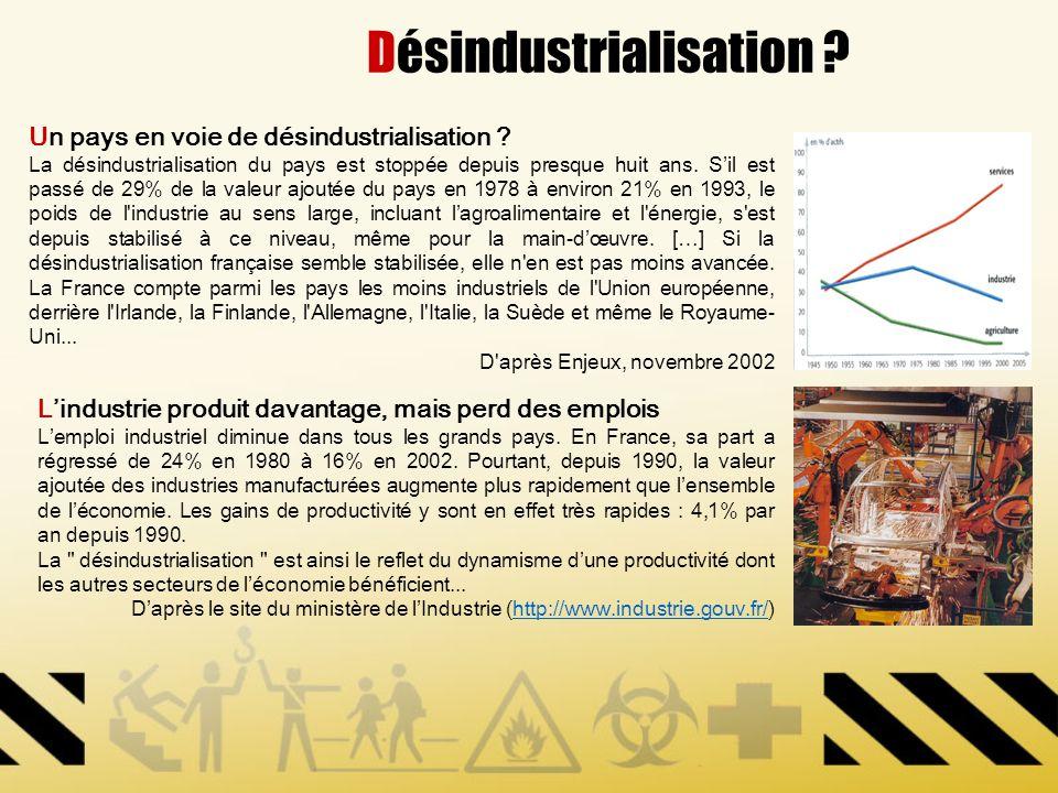 Désindustrialisation ? Un pays en voie de désindustrialisation ? La désindustrialisation du pays est stoppée depuis presque huit ans. Sil est passé de