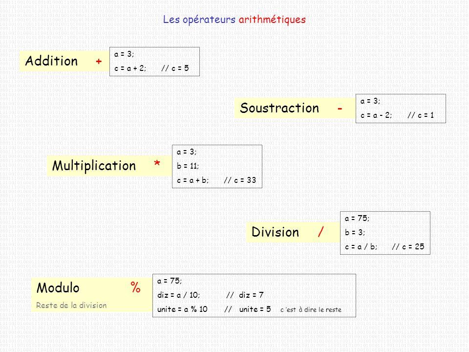 Les opérateurs arithmétiques Addition + a = 3; c = a + 2;// c = 5 Soustraction - a = 3; c = a - 2;// c = 1 Multiplication * a = 3; b = 11; c = a + b;/