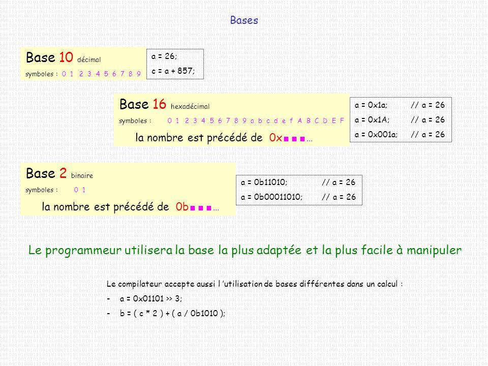 Bases Base 10 décimal symboles : 0 1 2 3 4 5 6 7 8 9 a = 26; c = a + 857; Base 16 hexadécimal symboles : 0 1 2 3 4 5 6 7 8 9 a b c d e f A B C D E F l
